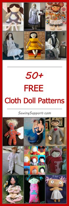 Lots of free cloth & rag doll sewing patterns. Soft, stuffed doll tutorials and diy projects to sew. Plush fabric and felt handmade dolls. Many cute designs.