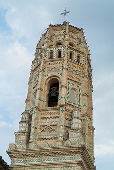Tower of the church of Santa María, 'Tower of Mirrors',  in Utebo, Spain (16th century)