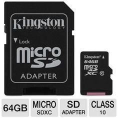 Card for Huawei Ascend D1 SmartPhone Phone with custom formatting and Standard SD Adapter. SDHC Class 4 Certified Professional Kingston MicroSDHC 16GB 16 Gigabyte