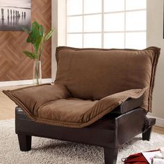 Lupton Chair CM6513CH $121  Description:   This matching three piece living room group features soft seating and a contemporary two toned upholstery. The pillow top is in mocha microfiber fabric, while the base and seat is espresso leatherette. The chair converts into a chaise and connects with the chair to make a longue, while the sofa itself converts into a bed.  Features:    Transitional Style Sofa/Bed Convertible Microfiber & Leatherette Removable Cover Mocha & Espresso