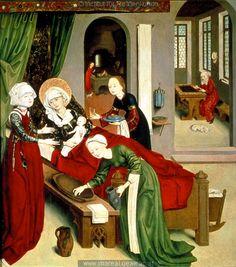 Geburt Mariens Geburt Mariens  [Birth of Mary], 1469-1480, Master of the Schotten Altar, Vienna, Austria