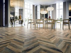 A unique series with the printed design of old wood in a chevron pattern. Two tiles placed side by side are needed to create a full Chevron layout. For residential walls and floors, commercial walls and generally heavy traffic wear floors.