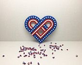 I love The USA , Hama Beads, Fourth of July decor, home decoration, Independance day, gift, home decoration, US Flag
