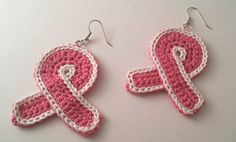 Breast Cancer Ribbon Crochet Earrings  Breast Cancer Awareness Month is October. Show your support with these adorable handmade crochet earrings. 50% of all proceeds will be donated to the Susan B. Komen Foundation.