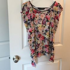 ZARA flower top Great used condition. No rips or stains. Long sleeves. Beautiful Victorian flowers design. Soft and stretchy material. Cool design in shoulders  the extra fabric looks great! 30% off on bundles of two items or more! ✂️OFFERS WELCOME✂️ Zara Tops Tees - Long Sleeve