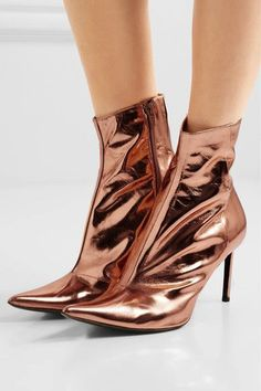 Haider Ackermann - Metallic Leather Ankle Boots - Copper - IT41