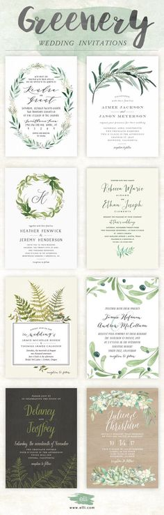 Now Trending - Greenery Wedding Invitations from elli.com