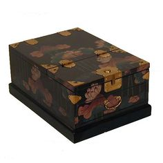 A Korean cosmetic box, the lid folds up to become a mirror stand.