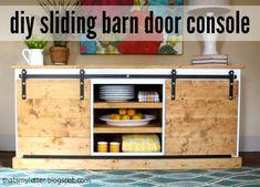 Love this sliding barn door console via @Jaime @ thatsmyletter