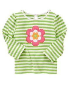 NWT Gymboree Growing Flowers Striped Green Long Sleeve Top Size 9 Years #Gymboree #Everyday