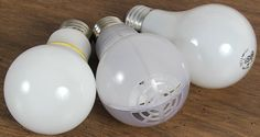 """Acandescent, incandescent and what's that in the middle?  One of the multitude of LEDs now available.  Remember.  No need for a """"bulb guide"""" when you purchase the right light."""