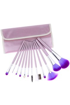 12pcs Light Purple Cosmetic Makeup Brush Set #Romwe