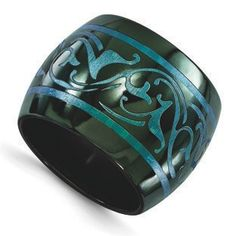 Edward Mirell Black Titanium Scroll Pattern Grooved Blue Anodized 8mm Wedding Band