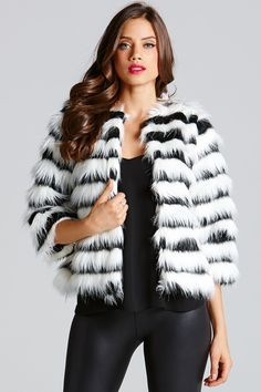 Little Mistress Black and White Cropped Faux Fur Jacket £50