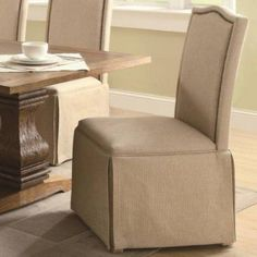 Chair with Skirt in Coffee by Coaster by Coaster Home Furnishings. $172.20. Coffee Finish; Skirted Base. Transform your dining room into an elegant space with this Skirted Parson Chair. From head to toe this chair embodies refinement with its classic design. The high back features a gentle curved crown crest with nailhead trim framing the edge. For a conservative look, a skirted base is added to the bottom. The soft fabric in a neutral palette makes this chair a ...