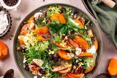 Persimmon & Pear Winter Salad Persimmon Recipes, Winter Salad, Serving Plates, Summer Salads, Fennel, Feta, Salad Recipes, Cooking Recipes, Pumpkin