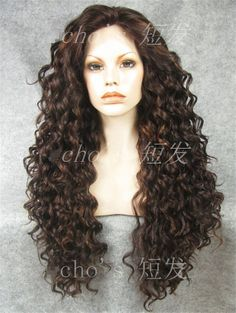 long curly wig.  brown  long curly wig. Heat resistant by chichair, $76.00