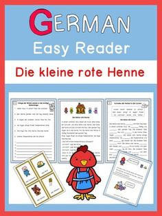 Die kleine rote Henne is a wonderful story for beginning readers in German. The worksheets help to improve German sentence structure, spelling and reading accuracy. The story and exercises come in 2 versions:  Präsens (simple present) and Präteritum (preterite).