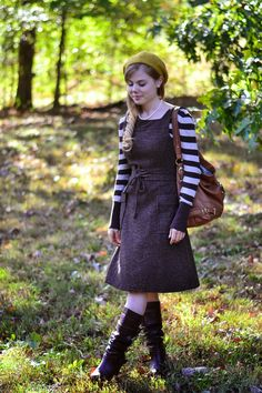 Perfect autumn outfit. I adore her dress!  Fresh Modesty blog-One Reason Church Is So Important To Me