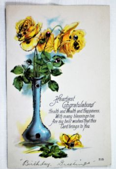 P-107 $5.00 Yellow Roses with Rhinestones and Glitter Postcard