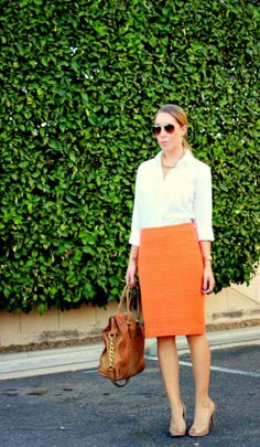 work wear, Monday work, pencil skirt for work, classic white button up, business casual, pencil skirt, orange pencil skirt, Ann Taylor.