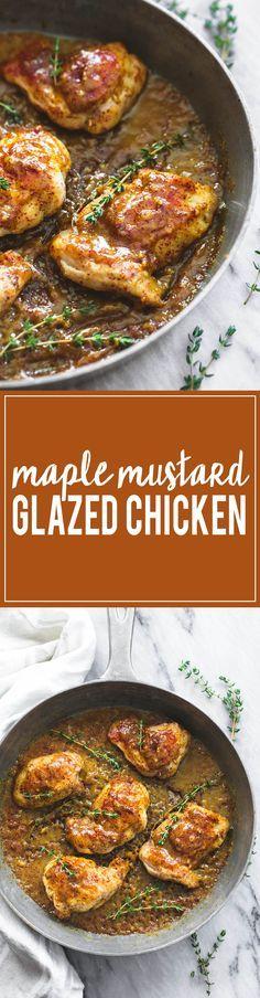 One Pan Maple Mustard Glazed Chicken | http://lecremedelacrumb.com