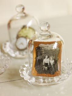 """I love my adorable little """"bite-sized"""" Amelia thimble domes from Willow House.  I'm going to use one to display my great grandma's wedding ring from 1931 and other family heirlooms on my dresser!  Get them at candacemc.willowhouse.com"""