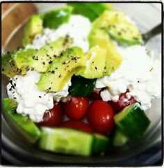 Cottage cheese, avocado, cucumber, grape tomatoes, and cracked black pepper. Easy to make. Good lunch. - @cathrnb via Instagram