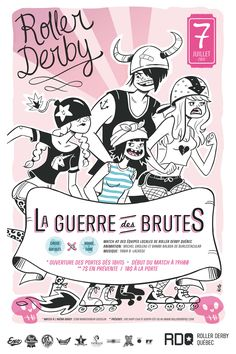Roller Derby Poster - Illustration Genevieve Kote, Type design Catherine Lemieux