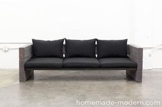 Modern outdoor sofas can be quite expensive. Make your own.