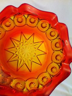 Amberina 6 Sided Moon and Star Jay Bird, Vaseline Glass, Funky Design, Fade Color, Glass Company, Color Effect, Retro Home, Drops Design, Glass Collection