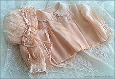 hand-smocked silk matinee jacket and bonnet ... c. 1920-30