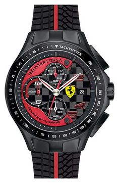 Scuderia Ferrari 'Race Day' Chronograph Silicone Strap Watch, 44mm available at #Nordstrom
