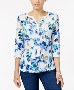 4fd0aefcde730 NWT 2XL 3 4 Sleeve Karen Scott Plus size Blue Whisper Floral Printed Henley  Top