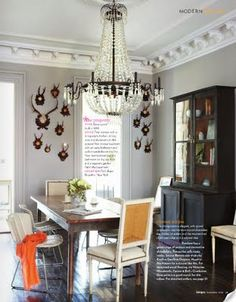 38 Brilliant Masculine Dining Room Designs: 38 Brilliant Masculine Dining Room Designs With White Wall And Antler Ornament And Luxury Chandelier And Mini Dining Table And Chair And Wooden Floor Dining Room Storage, Dining Room Design, Lower East Side, Woven Dining Chairs, Dining Table, Dining Area, Traditional Dining Rooms, Traditional Chairs, Furniture