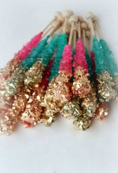 Buy Online!  Pink-Gold and Teal-Gold themed Rock candy great for a Shimmer and Shine Birthday, Mermaid Birthday Party, Under the Sea Bridal Shower or birthday, Gold bridal shower, baby shower, Beach wedding favors, dessert table treats, or for a beautiful Pink, Blue & Gold Wedding dessert table!
