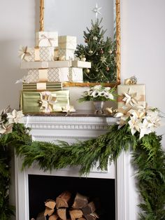 Mantel Decoration: Place a stack of elegantly-wrapped gifts on your mantel for an unexpected dose of glamour. Green Christmas, All Things Christmas, Winter Christmas, Christmas Home, Xmas, Rustic Christmas, Christmas Ideas, Merry Christmas, Christmas Fireplace