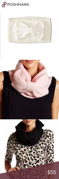 Kate Spade Scarf Bow Kate Spade scarf gathered bow neck-warmer with tags. 70% Acyclic and 30% Wool. Size 13w 8h available in 3 colours, 2 x pink 1 x white 1 x black. Ship day of purchase so in time for Xmas  happy posh.      ***15% OFF IF PURCHASE 2 OR MORE!!!!*** until Sunday :))))) kate spade Accessories Scarves & Wraps