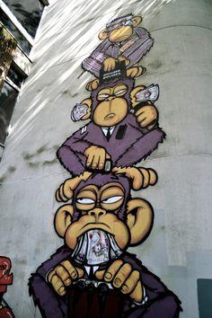 Monkeys of Wall Street Graffiti art