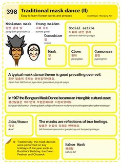 Easy to Learn Korean 398 - Culture: Traditional Mask Dance (Vocab) Korean Words Learning, Korean Language Learning, Language Lessons, Yellow Words, Learn Hangul, Korean Phrases, Mask Dance, Korean Lessons, Learn Korean