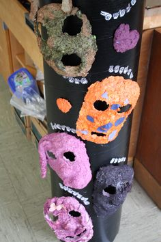Masks-Color Paper Making- paper scrapes by Elem. Group