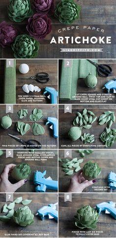 Crepe paper artichoke