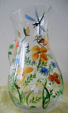handpainted glass poppy pitcher
