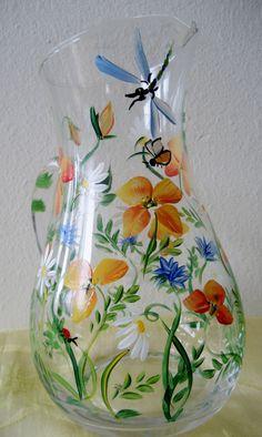 handpainted glass poppy pitcher