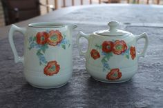 Hall Pottery Sugar Bowl and Creamer in the Orange Poppy Pattern by CoolOldSouls on Etsy
