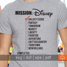 7a154c513 Disneyland T shirt Design SVG Cutting Files - Disney Checklist SVG Cut Files,  eps, pdf, dxf for Cricut and Cameo to Make Your Own T shirt