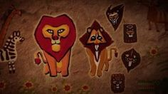 Scar (prevouis leader of the lion guard) and Mufasa, ancient Pridelands cave painting.