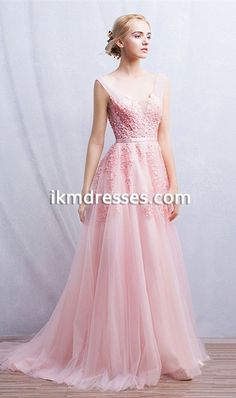 http://www.ikmdresses.com/Romantic-Pink-Appliques-Long-Dress-2016-Prom-Dresses-V-Neck-Backless-Sleeve-Ribbons-Pleat-Tulle-A-Line-Formal-Gowns-p92133