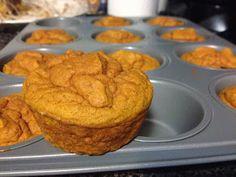 CLEAN PUMPKIN PROTEIN MUFFINS! 83 calories, 1.8g fat, 9 carbs, 1.3g fiber, 2g sugar, 7g PROTEIN. Looooove this recipe