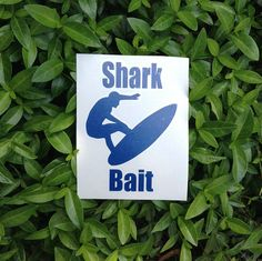 "Shark Bait Vinyl Decal. Car Decal, Window Decal, Laptop Decal, Sticker, Tumbler Decal, Yeti Decal Surfing, Shark, Beach, Ocean, 5""h x 3.5""w."